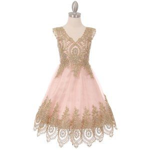 BLUSH Gold Coiled Lace Mesh Tulle Skirt Girl Dress